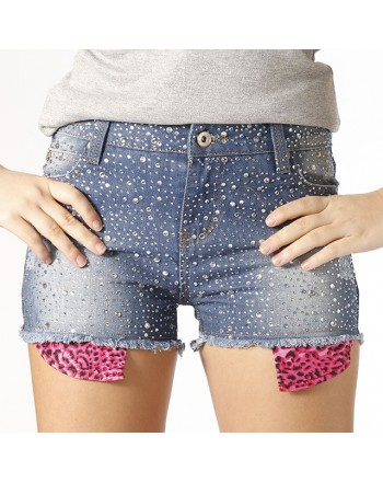 GIO' CELLINI Shorts denim strass