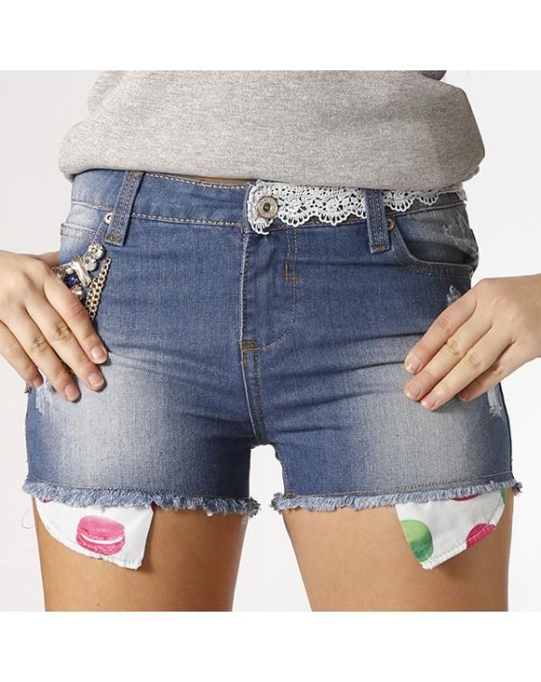 Shorts denim pizzo GIO' CELLINI