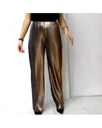 Pantalone ZAHJR plissettato nero/bronzo